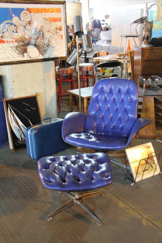 Pearsall blue quilted chair and ottoman at the Vintage Garage Chicago Uptown monthly, Midcentury Modern