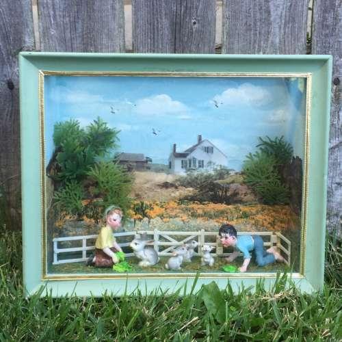 Narcissa Thorne Farm Children Kids bunnies Diorama Shadowbox