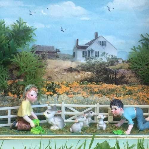 Narcissa Thorne Farm Rabbits Kids Children Diorama Shadowbox