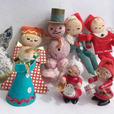 Vintage Christmas Ornaments Made in Japan Felt and Glitter