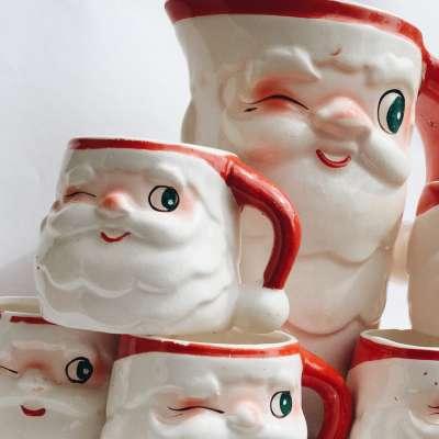 Holt Howard Santa Pitcher and Mugs Christmas