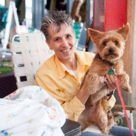 Janet Braun and her dog. Maisie & Maude at Vintage Garage Chicago.