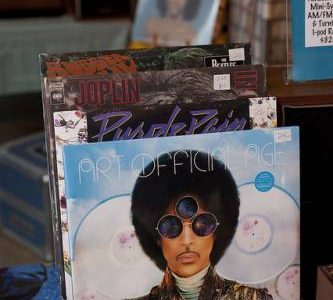 Vintage vinyl featuring Prince and the Revolution Purple Rain