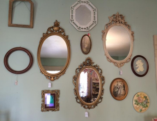 Vintage shop of antique mirror, vintage mirrors each month at the vintage Garage.
