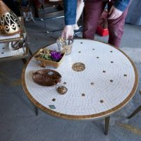 Mid century modern tile topped round table at Chicago's flea market, Vintage Garage Chicago