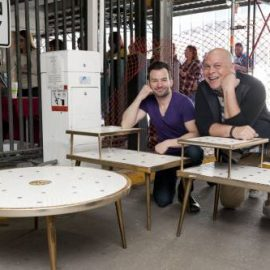 matt and Kevin shop for Midcentury Modern Furniture at Vintage Garage Chicago