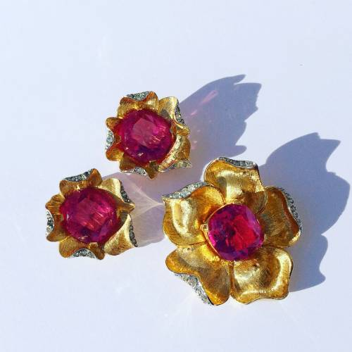 Pink Rhinestone Jomaz set found in Chicago estate jewelry!
