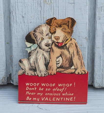 Vintage valentine cards are collectible. Dogs are a great subject!
