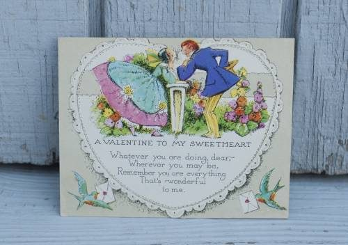 Vintage valentine card at the Vintage Garage Chicago each month