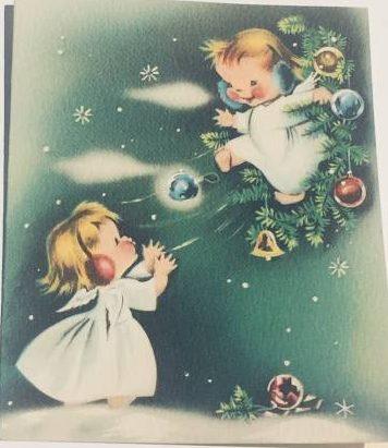 Vintage Christmas angels greeting card.