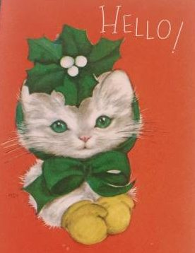Collecting vintage holiday cards Christmas Kitties cats at Vintage Garage Chicago Holiday market