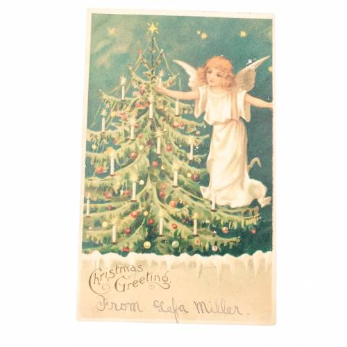 Angel and Christmas tree antique postcard