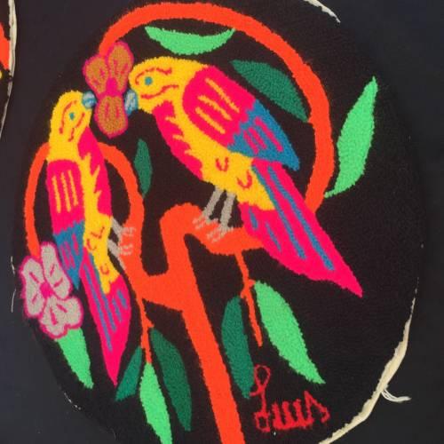 Luis Montiel artist, tapestry designer from Venezuela. Bright neon colors.
