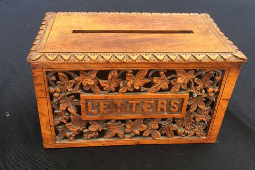 Wood carved letter box from Marshall Fields Antiques. This box was purchased from Marshall Fields Antiques.
