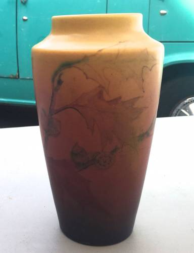 Rookwood vase with butterfat glaze. decorated by Elizabeth Lincoln. Brought to Vintage Garage Chicago Appraisal fair