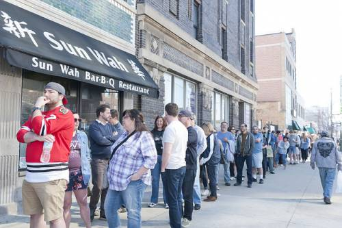 Biggest line and show ever at the Vintage Garage Chicago Uptown.