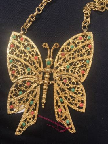 D&E Juliana Butterfly necklace. Vintage 1970's or 1980's. Vintage Garage favorite appraisal fair.