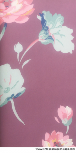 Vintage wall paper, pink floral pattern. From a 1940's wall paper sample book.