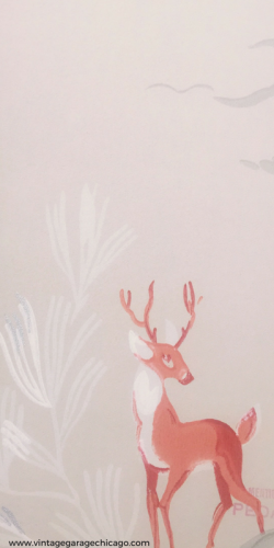 Vintage 1940's deer wall paper. Vintage wall paper that has its gorgeous stamped pattern.