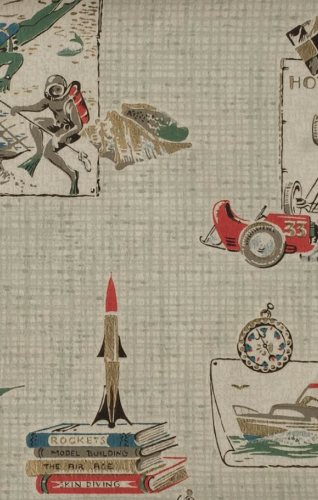 Boy's bedroom 1950's wallpaper with rocket ships, scuba divers and race cars