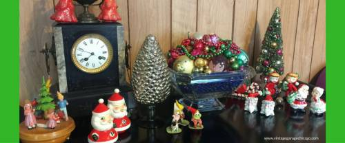 Vintage Christmas music box, ornaments, candles and other vintage Christmas stuff.