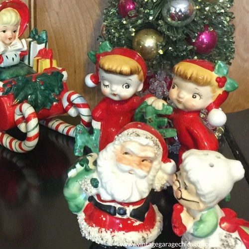 Lefton christmas figurines, Santa and Mrs. Claus. Vintage Garage Chicago family kitschmas