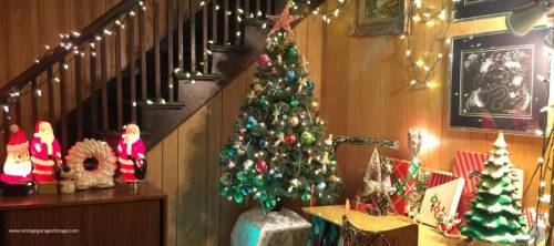 Vintage Christmas tree with vintage midcentury modern ornaments, starburst and mushrooms.