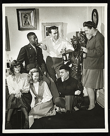 Gertrude Abercrombie with friends in 1950's in Chicago Artist Painting.