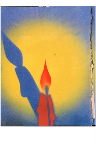 Vintage Christmas Holiday greeting card. A lit candle, with it's silhouette.