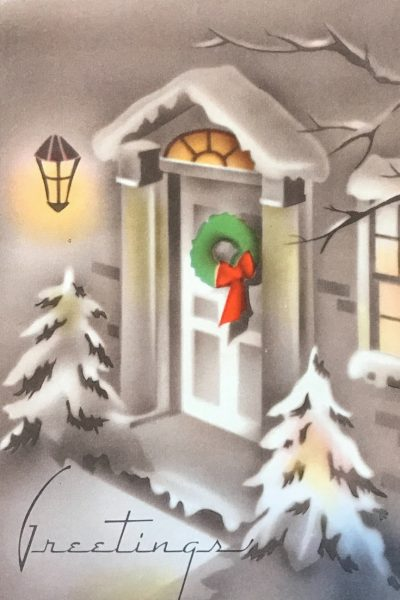 Vintage Art Deco style Christmas Holiday Card of wreath on door.