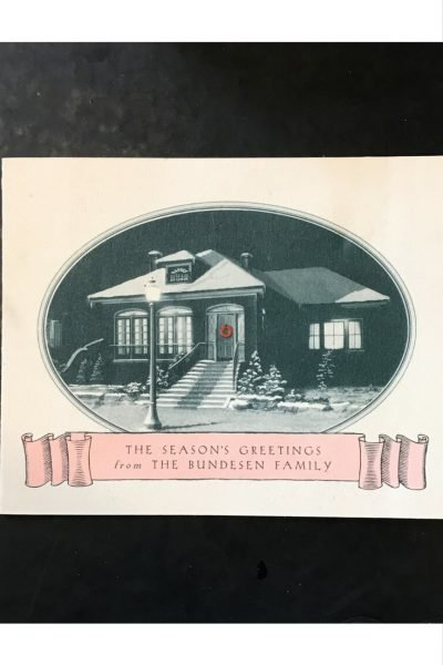 Vintage personalized Christmas holiday greeting card.