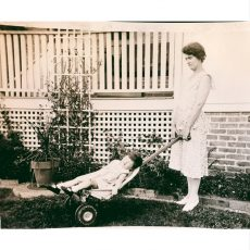 Vernacular photograph of child in fertalizer spreader.