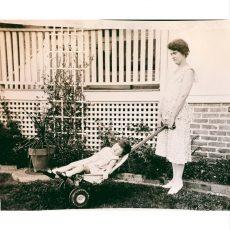 Vernacular photograph of child in fertalizer spreader.