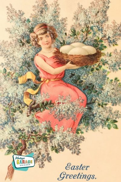 Vintage Antique Postcard featuring girl in a lilac tree Easter Greetings