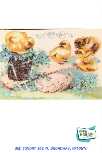 Vintage Easter Postcard with baby chicks