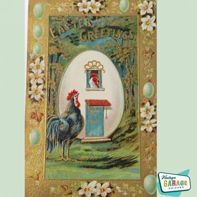Vintage Easter card with Rooster and Hen