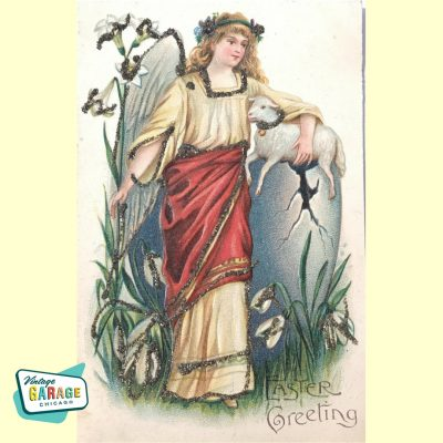 Gorgeous Easter postcard. Angel with sheep and glitter. Easter Greeting. Victorian era, early 1900's. Vintage Garage Chicago