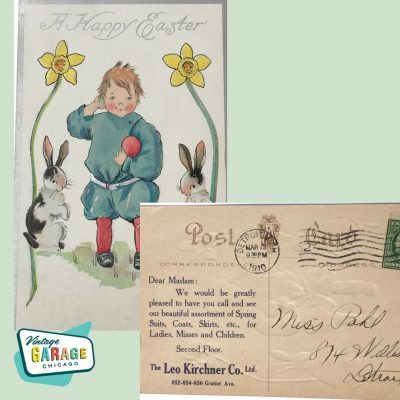 A Happy Easter Card from the Leo Kirchner Co. LTD in Detroit to a customer. Vintage advertising at it's best. 1910. Vintage Garage Chicago