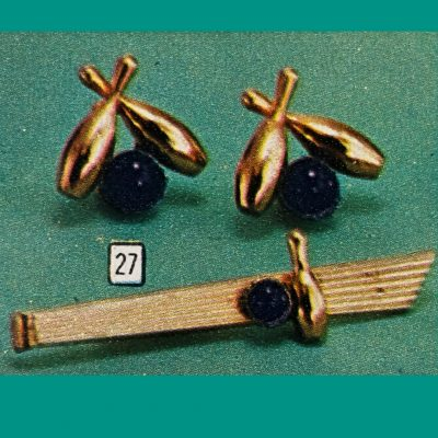 Vintage Fathers Day Sears Catalog Figural Gifts Cuff Links Vintage Fathers Day Sears Catalog Figural Bowling Cuff Links Tie Clip Jewelry Set.