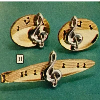 Vintage Fathers Day Sears Catalog Figural Gifts musical staff treble cleff Cuff Links and Tie Clip Jewelry Set. Treble cleff with sheet music.