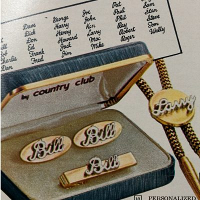 Vintage Fathers Day Sears Catalog Figural Gifts Personalized Signature Cuff Link and Tie Clip Set.