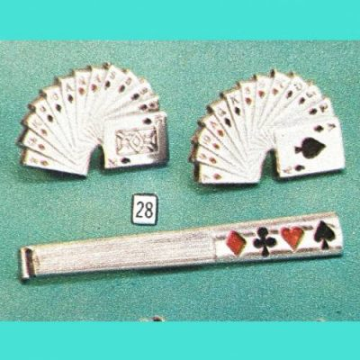 Vintage tie tack and cuff links, as well as other Men's accessories at Vintage Garage Chicago. 2 bridge hand cuff links with card suits tie tac.