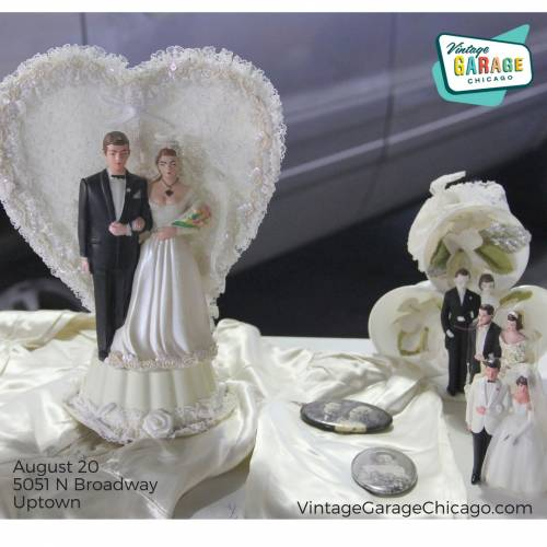 Vintage Garage Chicago Wedding Theme has Cake toppers from all eras!
