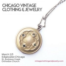 necklace locket Chicago Vintage Clothing and Jewelry Show St. Andrews Greek Orthodox Church, 2028. Vintage cherry watch charm jewelry