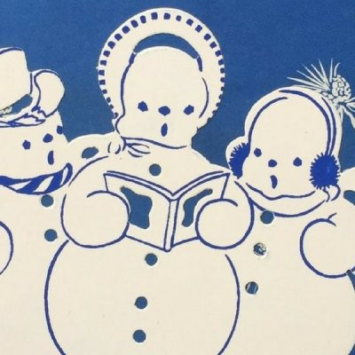 Vintage Gift Wrapping Paper Blue snowmen at the Vintage Garage