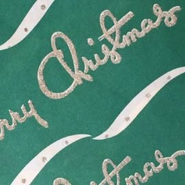 Vintage Gift Wrapping Paper Green Merry Christmas at the vintage garage