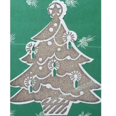 Vintage Gift Wrapping Paper glitter green trees at Vintage Garage