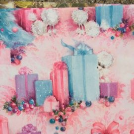 Vintage Gift Wrapping Paper pink poodles 1960's atVintage Garage