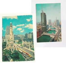 Chicago vintage postcards featuring Marina Towers and Water Tower downtown in Chicago. Found at Vintage Garage Chicago.