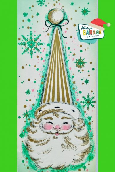 D PIN- Green Mid Century Modern Christmas Card Santa